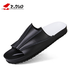 Buy Z.Suo Brand 2017 Summer Genuine Leather Men Slides Sandals Flip Flops Beach Non-Slide Male Handmade Slippers Flats Shoes Black for $26.00 in AliExpress store