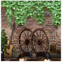 wallpaper 3d Retro Brick Pattern Green Leaf Mural Living Room Bedroom King Back Wall Wooden Wallpaper Restaurant Bar Wallpaper(China)