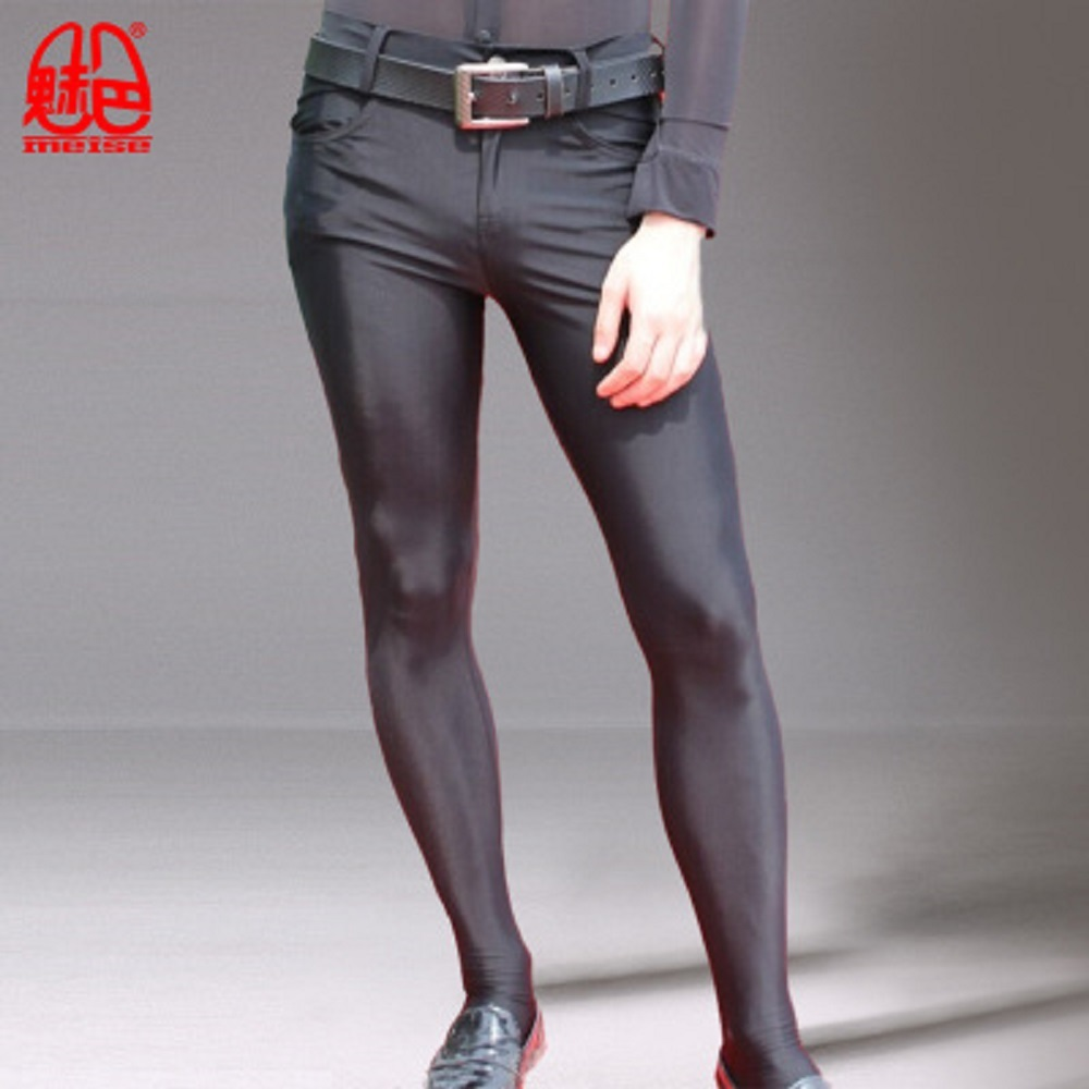 Sexy Prince Pantyhose Tights Casual Pants Nightclub Hair Stylist High Elastic Bag Legs Pencil Pants Silky Couple Gay Wear Q81