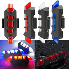 Drop Shipping 2017 New 1PC Cycling Light 5 LED USB Rechargeable Bike Bicycle Tail 4 Model Warning Light Rear Safety #EW(China)
