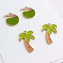 10pcs/pack Coconut Tree Coconut Drink Enamel Drop Oil Charms Alloy Pendant fit Bracelet Jewelry Accessories(China)