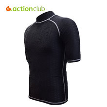 Actionclub Mens Shark Skin Swimming Surfing Rash Guard Short Sleeve Quick Drying Diving Suit Sunscreen Swimuit Tight Shirts