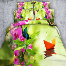 orchid  bedding bed sets queen king twin comforter doona quilt duvet cover oil painting 3D printed butterfly bed sheet spreads