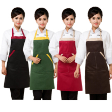 Contrast Color Chef Apron Double Shoulder Strap Sleeveless Apron Multi Color Unisex Free Size For Food Service Uniform Wearing