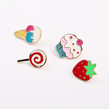 Fashion jewelry Enamel Ace Cream Cake Strawberry Jeans Clothes Badge Brooch Pin Wholesale(China)