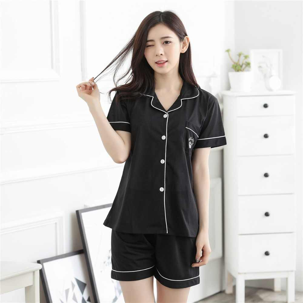 Summer New Short Sleeve Victoria s Secret Embroidered Pajamas Set Short  Sleeve Shorts Cool Summer Home Suit 9a2b80311