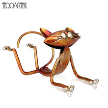 Tooarts Yoga Cat Metal Figurine Modern Style Mini Animal Craft 3D Art Gift Wine Rack For Office Home Decoration Accessories