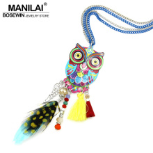 MANILAI Fashion Long Chain Multicolor Owl Pendant Necklaces With Feather Crystal Bead Tassel Women New Accessories Charm Jewelry