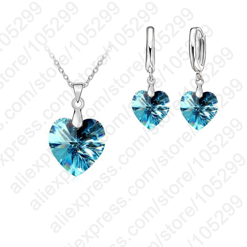 One-Set-Austrian-Crystal-925-Sterling-Silver-Jewelry-Heart-Pendant-Necklaces-Lever-Back-Earrings-Woman-Accessories (3)