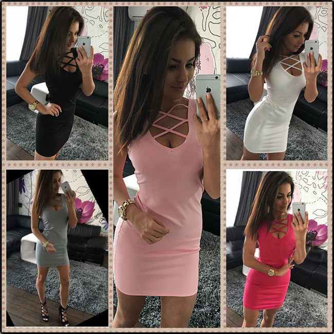 Summer Dress Lycra Sale Acrylic 2017 Hot Sexy Fashion Slim Beautiful Charming Solid U-neck Crossed Sleeveless Package Hip
