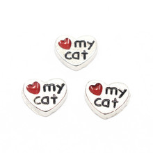 Buy Hot Sale 10pcs/lot Silver Enamel Heart love Cat Floating Charms Fit Living Glass Memoy Floating Lockets DIY Jewelry for $1.50 in AliExpress store
