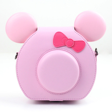 CAIUL Lovely PU Leather Protector Instax Camera Shoulder Case Bag for Instax Mini TSUM TSUM Camera - Pink(China)