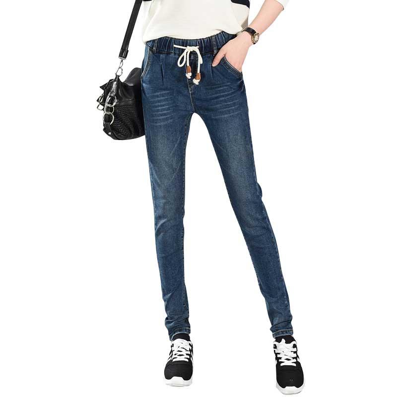 Womens Slim Fit Pencil Jeans Drawstring Elastic Waist Denim Harem Pant for Women Size 26-34Одежда и ак�е��уары<br><br><br>Aliexpress