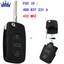 3 Button Folding Keyless Remote Key Fob For Audi A3 A4 A6 Old Models 433Mhz With ID48 Chip 4D0 837 231 A