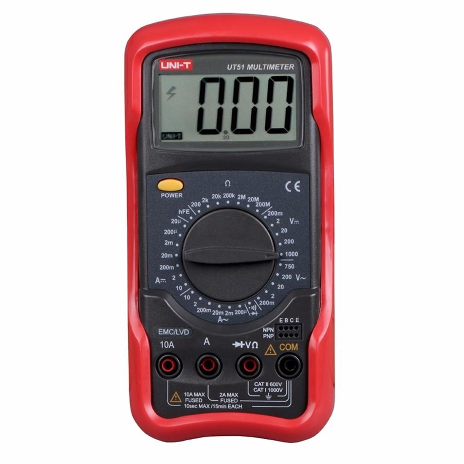 UNI-T UT51 Digital Multimeters DC AC Voltage Current Resistance Meter Tester Voltmeter Ammeter Ohmmeter Tester LCD Backlight<br>