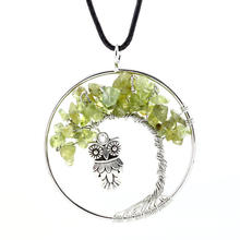 2017 Fashion Owl Stone Long Necklace For Women Black Enamel Plated Silver Tree Of Life Necklace Women Gift Jewelry