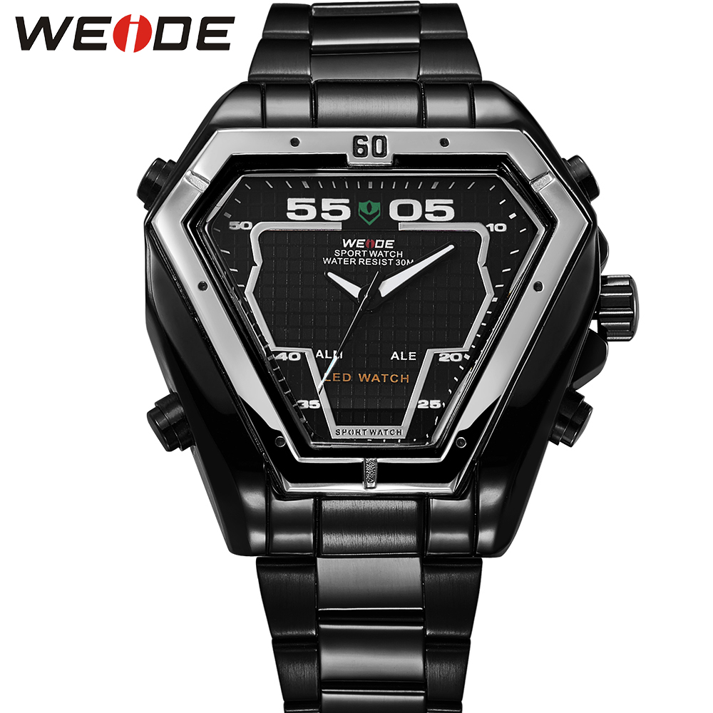 WEIDE Irregular Men Military Analog Digital LED Watch 3ATM Water Resistant Stainless Steel Bracelet Multifunction Sports Watches<br>