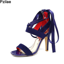 Plus Size 45 New Arrival Hot Sale Lace Up Bridal Wedding Party Club Sandals Fashion Woman Thin High Heels Sandals Rome Bohemia