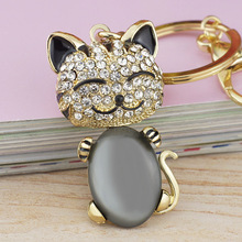 Dalaful Smile Cat Opals Crystal Enamel HandBag Keyrings Keychains For Car Purse Bag Buckle key chains holder for women K169