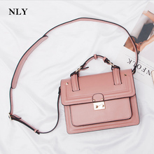 2017 spring summer fashion bags women leather shoulder crossbody handbag lock stud Pyramid rivet shoulder strap Bag