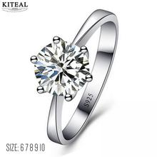 Buy Best Gift Six Claw Cubic 8mm Zirconia Silver Color women Wedding Ring Austrian Crystals jewelry Wholesale 925 ZYR013 USR620 for $1.17 in AliExpress store