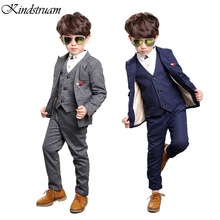 2017 Gentleman Style Boy's Formal Suits Spring Blazer + Shirt + Vest + Pants 4 Pcs/Set Children Clothing Sets for Wedding, HC648