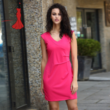 Deviz Queen Office Dress Brand 2017 New V-Neck Fold Design Women's Elegant Lady Party Bodycon Rose Dresses Wear to Work(China)