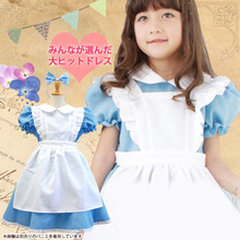 2016 Discount Halloween/Christmas Alice in Wonderland Costumes Child Ssissy Maid Lolita Dress Love Live Cosplay Clothes For Sale(China)