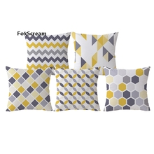 Yellow Decorative Pillows Geometric Throw Pillows Case Gray Geometric Cushion Cover Home Deco Nordic Style Pillow Case for sofa(China)