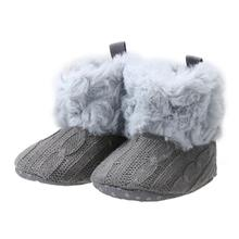 New Baby Girls Winter Warm Snow Boots Infant Toddler Kids Solid Crochet Knitting Shoes Baby Ankle Snow Boots Prewalker