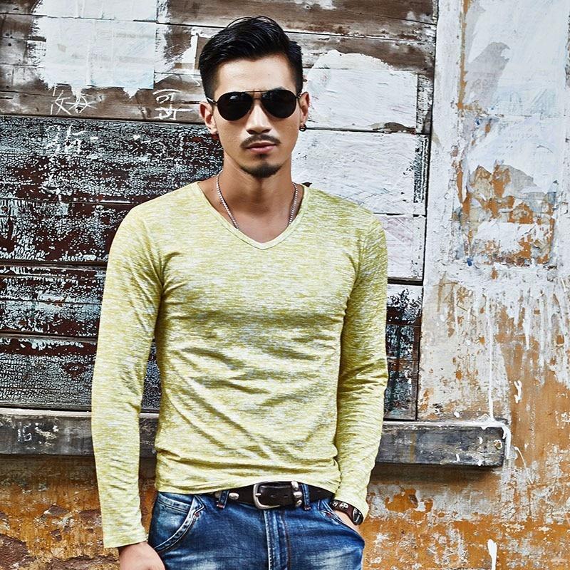 M-3XL Stretch Vintage Man Tops Spring Summer 18 Casual Man T-shirts V-neck Printed Long Sleeve Shirt Knitted Cotton Slim Shirt 6