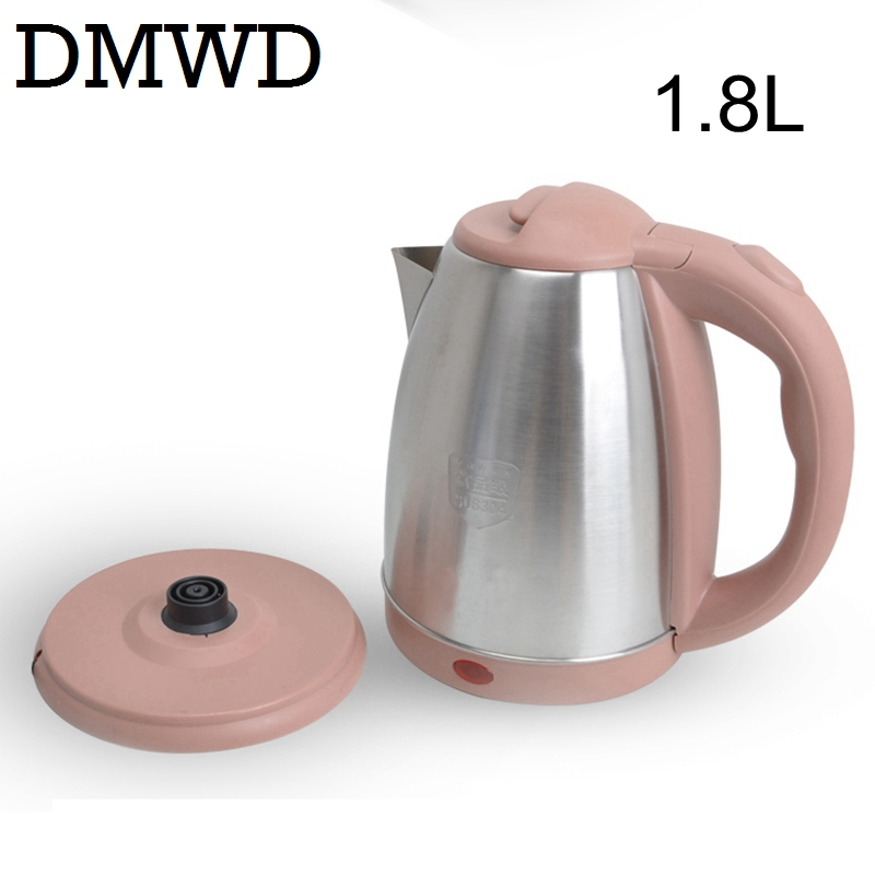 DMWD 110V 1.8L Electric Kettle hot water heating tea pot Travel boiler MINI Cup Portable Stainless Steel Boiling Teapot US plug<br>