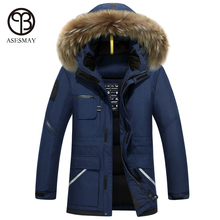 Asesmay 2017 brand clothing men down jacket high quality men's winter coats hooded fur goose feather wellensteyn jackets parka(China)