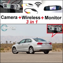 3 in1 Special Rear View Camera + Wireless Receiver + Mirror Monitor Easy DIY Parking System For Volkswagen VW Passat B6 B7