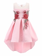 Wholesale Sequin Mesh Sleeves Solid Kid Girls Wedding Dress Taffeta Little Girls Causal Party Dress 14 pcs/Lot Free DHL L560