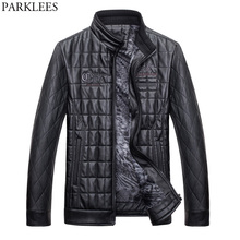 Winter Warm Pilot Leather Jacket Men 2017 Zipper Casual PU Leather Mens Jackets Coats Slim Fit Quilted Jacket Casaco Masculino