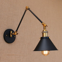 Loft black fashion industrial style adjustable long arm vintage indoor wall lamp E27 lights for home hallway bedroom bar cafe(China)