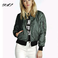 Womens Autumn Casual Thin Jackets Ladies Soild Color Pocket Zipper Front Stand Collar Long Sleeve Basic Bomber Jacket Outwear(China)
