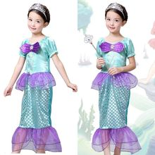 2017 new summer short sleeve  Little Mermaid Ariel Fashion Child Girl Dress Up Costume Size 3T-10