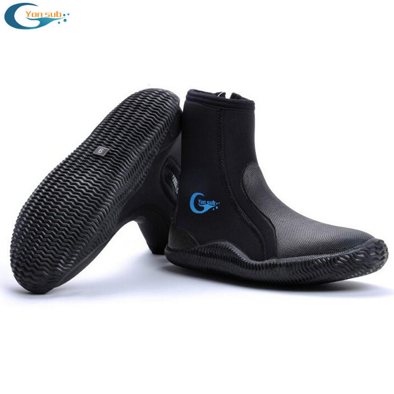 5MM SCR Neoprene Vulcanization High upper scuba dive boots Cold proof Anti slip Skid Keep warm shoes Fishing Winter swim Fins(China)