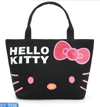 Promotions! Hello Kitty Bag Designer Waterproof Shoulder Bag Black Shopping Girls Women Handbags bolsa canvas feminina(China)