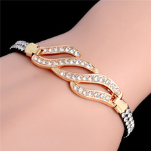 SHUANGR Gold Color Chain Link Bracelet for Women Ladies Shining AAA Cubic Zircon Crystal Jewelry Gift