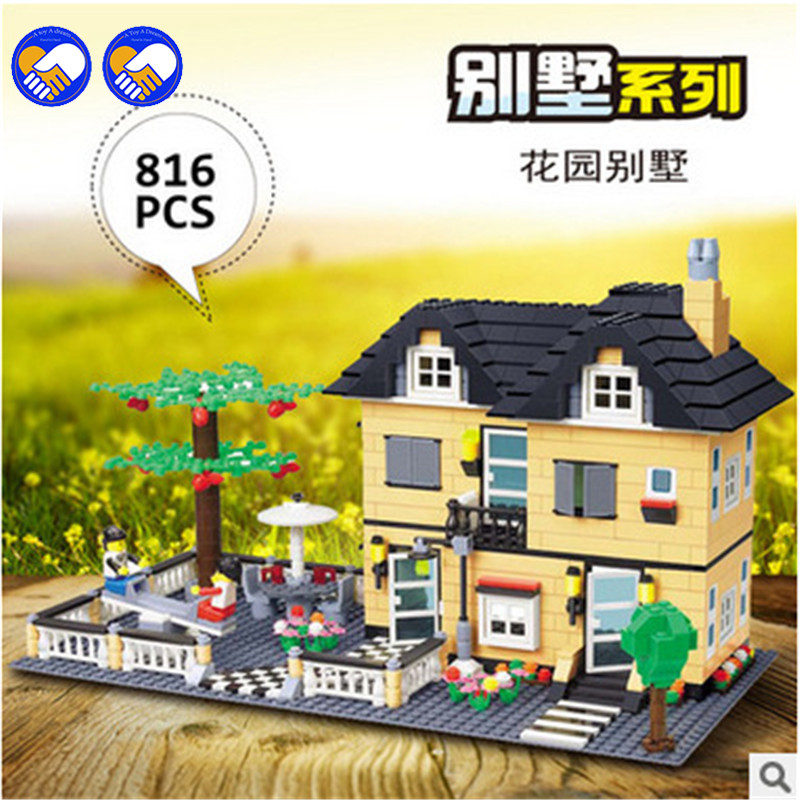 A toy A dream Villa Castle City Building Blocks DIY Assemble Construction Enlighten Bricks Toys lepin 34053<br>