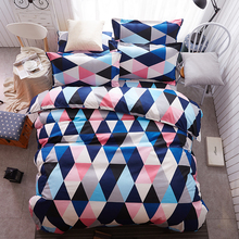 Sookie Home Textile 3pcs King Size Colorful Bedding Sets Pretty Geometric Plaid 4pcs Duvet Cover Sets Pillowcases Pillow Covers