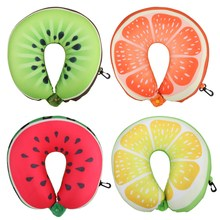Fruit U Shaped Travel Pillow Nanoparticles Neck Pillow Watermelon Lemon Kiwi Orange Car Pillows Soft Cushion Home Textile(China)