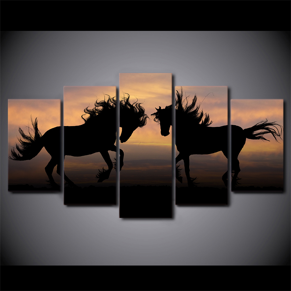 Shadow of Galloping Horse Dancing 5 Piece Canvas Art Print Picture Wall Decor