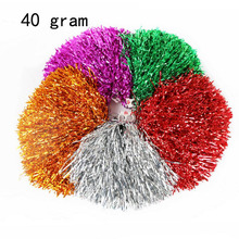 24/lot 40g Cheerleading Pom Poms Cheerleaders Hand Flowers with Plastic hand stick PVC Hand Flowers Pompoms Supplies