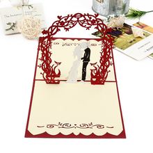 (10 pieces/lot)3D Pop Up Greeting Cards Wedding Cards Invitations Personalised Laser Cut Paper Wish Card for Sweet Wedding