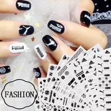 Nail Art Decorations Black Stickers Sport Brand Nail Sticker Self-adhesive DIY Decals Tips Rose Gold Nail Art Stickers Decals(China)