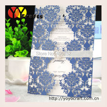 Sea blue delicate laser cut invitation card for wedding or party